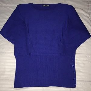 CABLE & GAUGE (M) 3/4 SLEEVE BLUE STRETCH SWEATER